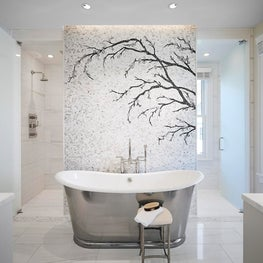 Master Bathroom Renovation. Mosaic tile backdrop highlight the Waterworks tub.