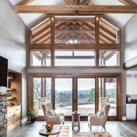 Modern Craftsman Architecture Living Room with Sitting Chairs