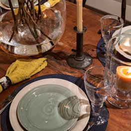 A rustic country table setting.