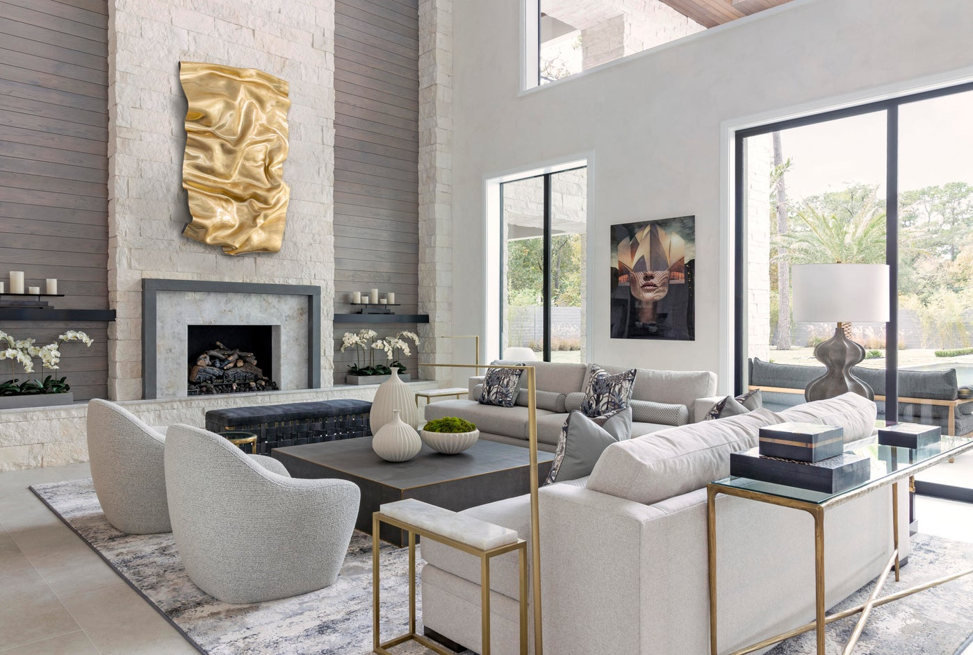 Comfortable Family Room with Statement Fireplace