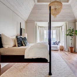 New Traditional Residence master bedroom with vaulted cerused wood ceiling.