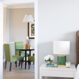 Key Biscayne aerie features neutral palette and bold green and gold accents