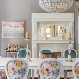 Dining Room detail of custom Louis chairs and iridescent floral chandelier