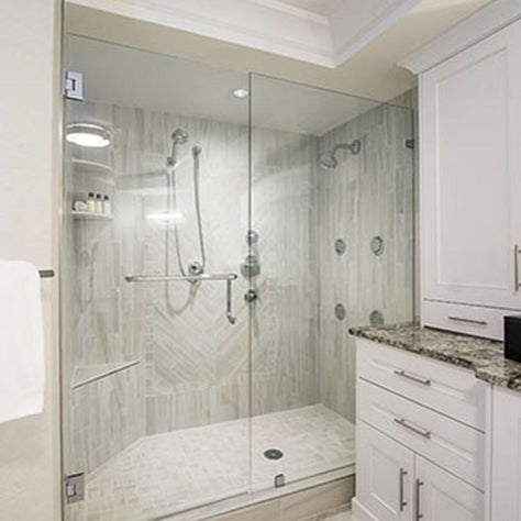 Spa-like Master Shower with Body Sprays, Custom Tilework,