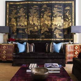 Knightsbridge Townhouse- Antique Screen, Paolo Moschino for Nicholas Haslam Sofa