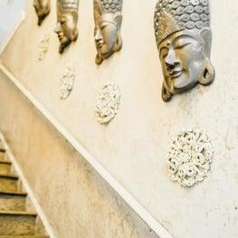 Zen-like Stairway with Buddha Heads