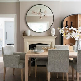 Barnes, London - Dining Room wit pale rose walls and tonal woods