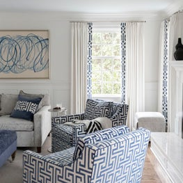 Navy and Neutral Family Room with Custom Upholstered Furniture