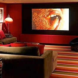 Red Screening Room with stripe Stark carpet