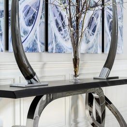 Grand Entrance Statement Foyer Custom Metal and Wood Table