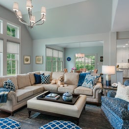 Great Room Plays with Pattern but Keeps it Balanced with Classic Neutrals