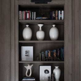 Bookcases with Beautiful Millwork and Accessory Styling