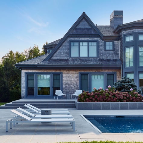 Poolside porch and terrace in The Hamptons, Quogue