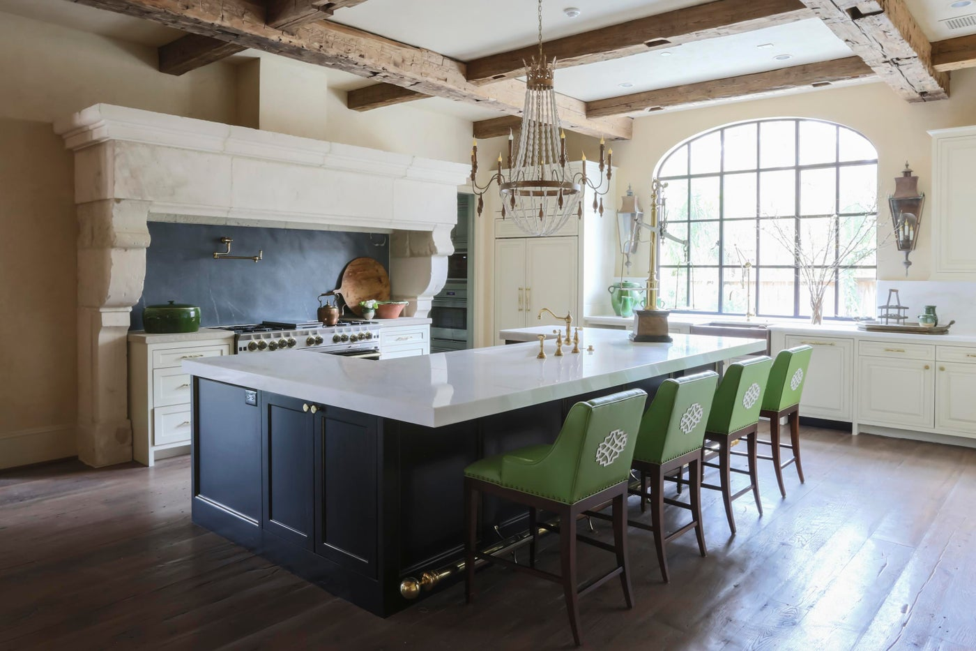 French transitional kitchen- steel windows, reclaimed beams & bright green twist