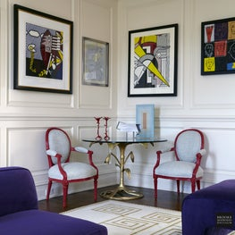 Greenwich Whimsy: red lacquer chairs, gold leafed table and art