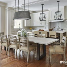 Casually elegant kitchen featuring rich patinas and refined millwork.