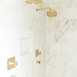 Clearwater marble and brass Master Bathroom