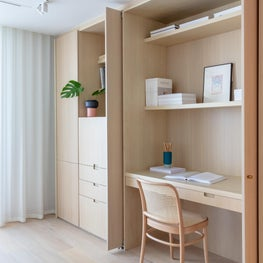 Custom Built-in in White Oak with an Integrated Work Space