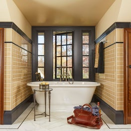 Master Bathroom with Tudor Leaded Glass Cabinetry