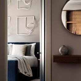 looking into the bedroom from vestibule