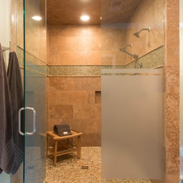 Natural Stone Master Double Shower w/Privacy Glass