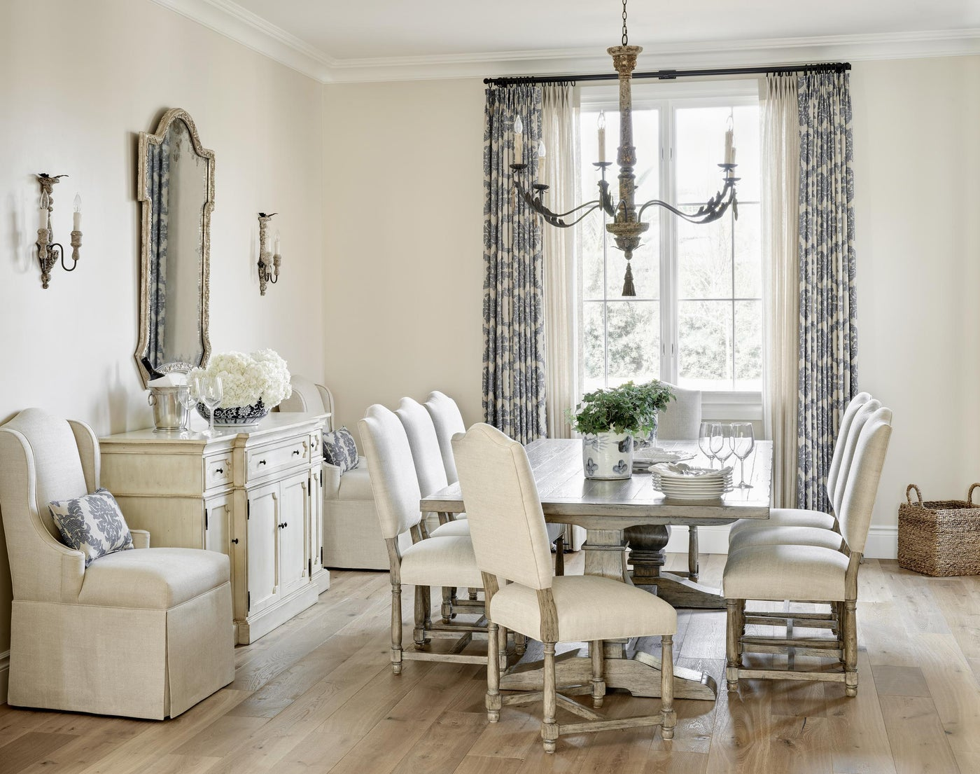 Mediterranean Dining Space with a Neutral Palette