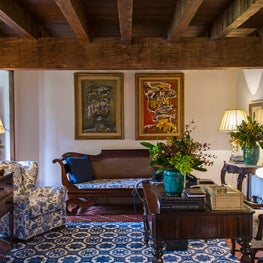 Guariroba home office with wooden beams, blue rug