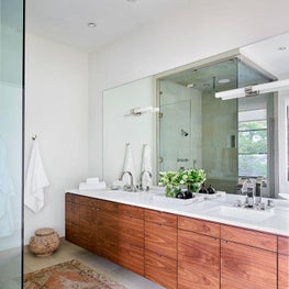 White Bathroom, White Walls, Wood Cabinets, Walk-in Shower, Jack and Jill Sinks, Silk Rug - Glencoe Contemporary Project
