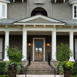 Shingle Style Front Porch with Tuscan Columns and Slate Roof