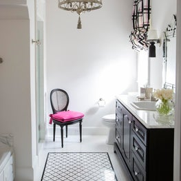Black & white girls bath-decorative tiling, custom colored sconces & pop of pink