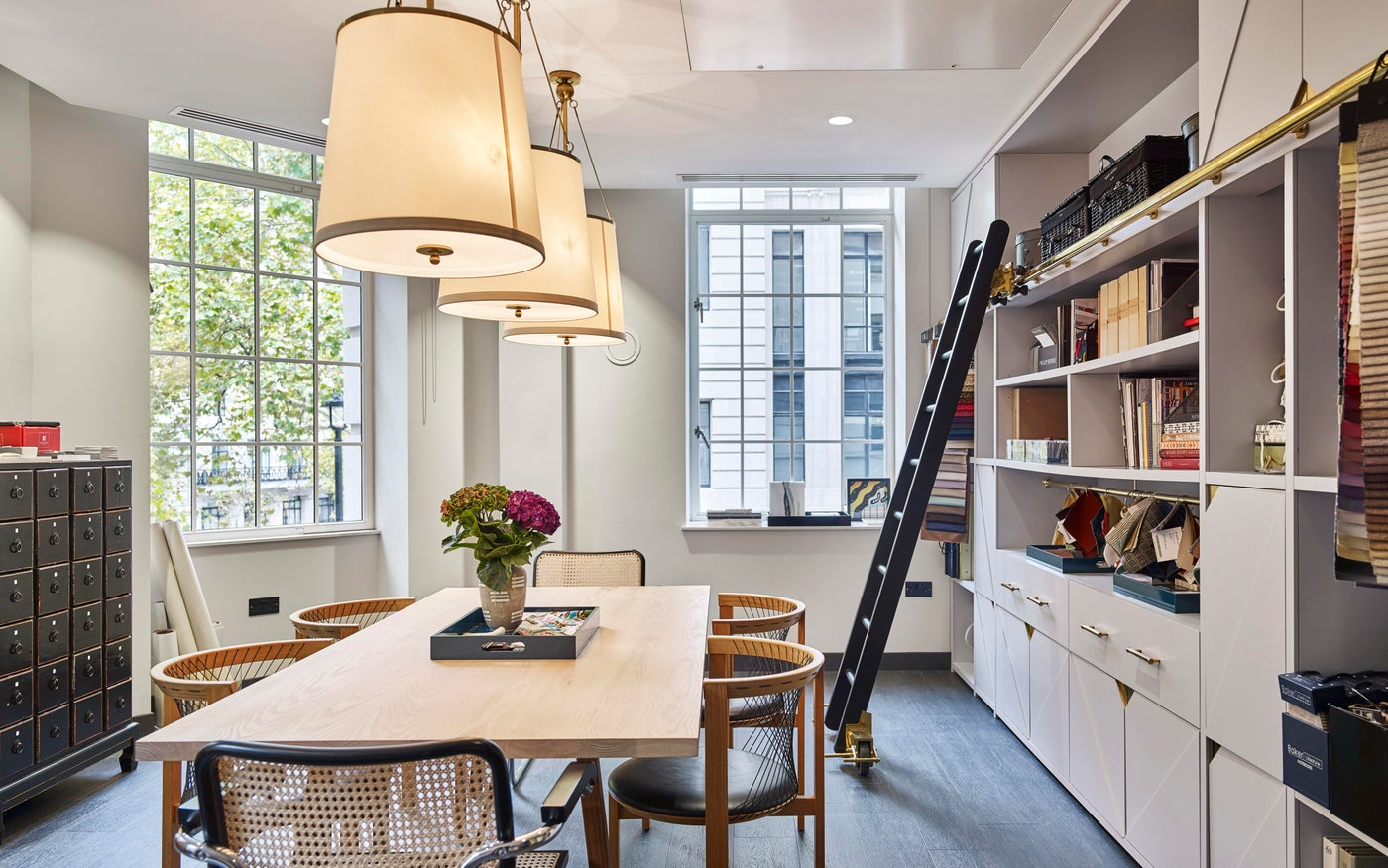 Bespoke design library in stylish London office