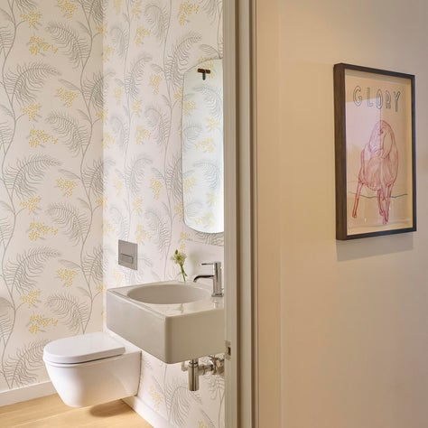 Whimsical Powder Room with Modern Features