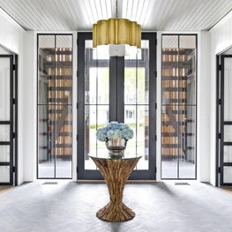 Brynn Olson Design Group - Hinsdale Modern Farmhouse - Entry Foyer Steel Doors