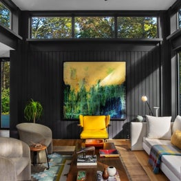 Modern living room with black paneled walls, low coffee table, vintage seating