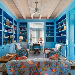 Lyford Cay Blue Library with Limed Cypress Wood Ceiling