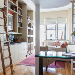 Bookcases and storage to un-clutter small spaces.