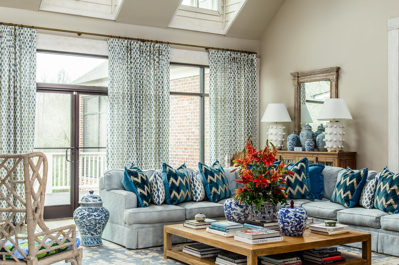 Farmhouse Blue and White Living Room