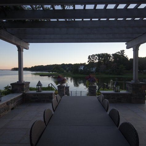 The view from underneath the pergola on the dining terrace.