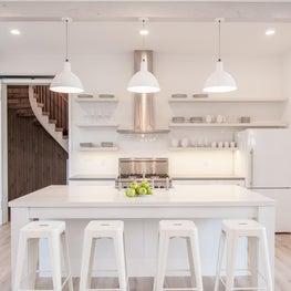 Modern barn house style, white kitchen