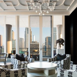 A Chicago penthouse with a city view.