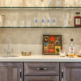 Bar with Glass Shelves in Atherton Residence II
