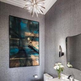 Bridgehampton Powder Room with large art and statement lighting