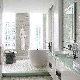 Aerie modern bath with sea-glass countertops