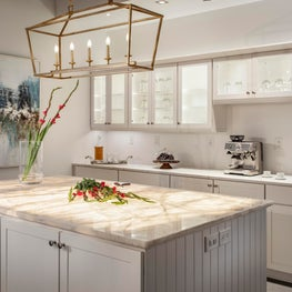 Kitchen Display with Lit Onyx Countertop for Philadelphia Main Line Showroom