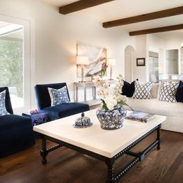 Bold colors and textures complete this family room