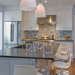 Brookline Home on Jay Street, Kitchen island with bar seating and food prep area