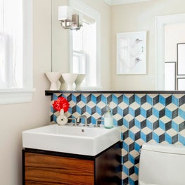 Fresh Modern Powder Room with Cement Encaustic Tile - Scarsdale, New York