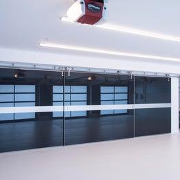 Portola Valley contemporary renovation. Garage. Carbon fiber closet.