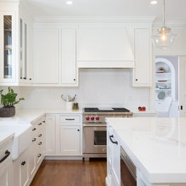Classic white inset kitchen with Neolith counters