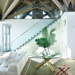 Glass House, Living Room, Entry, Foyer, Staircase